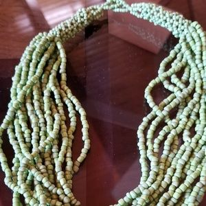 Green beaded necklace 10 inches long